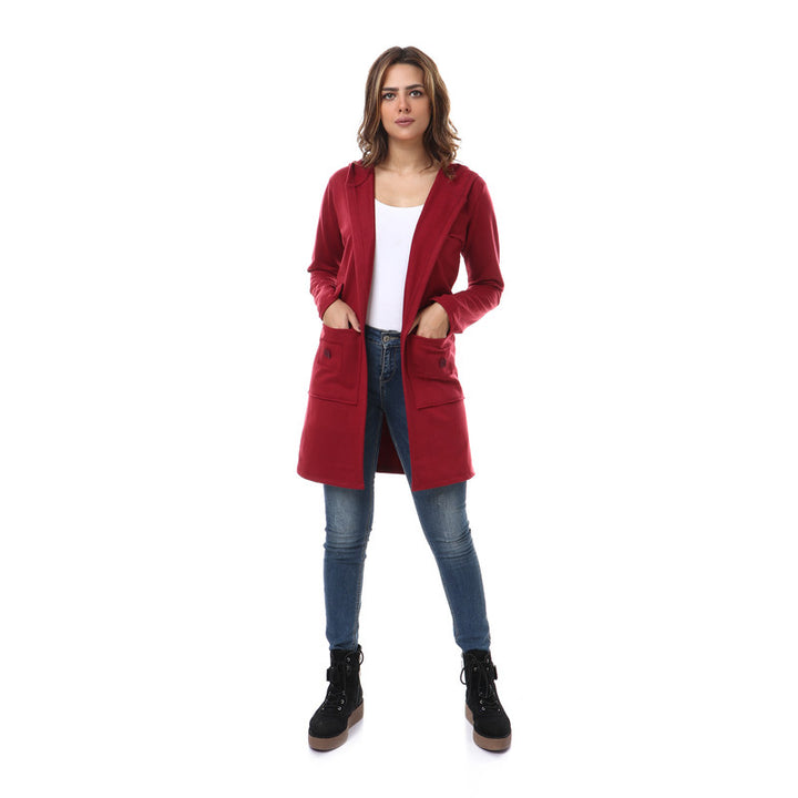 Hooded Neck Open Cardigan - Burgundy