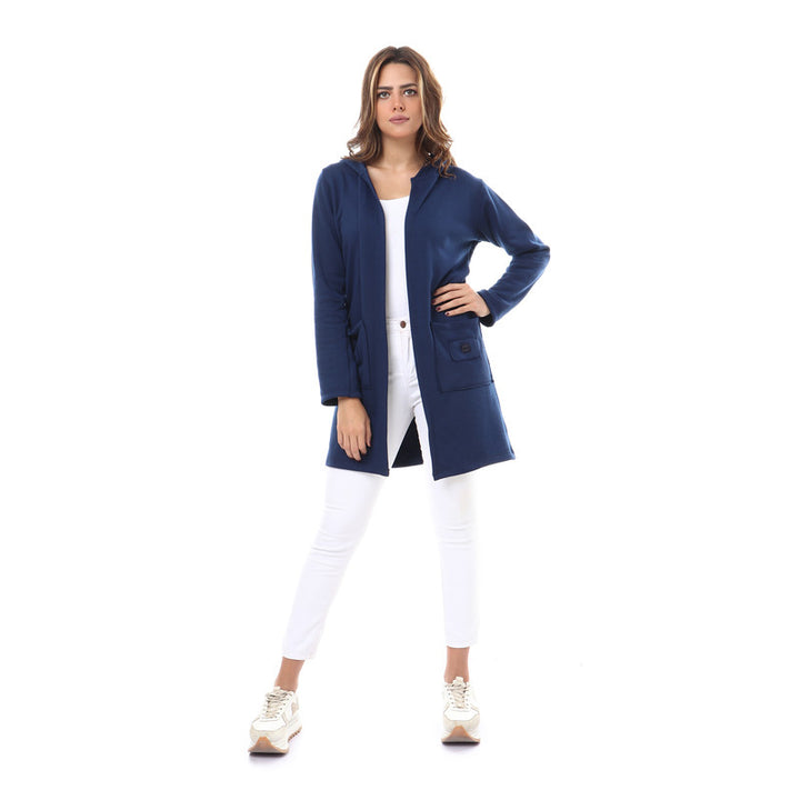 Hooded Neck Open Cardigan - Navy Blue