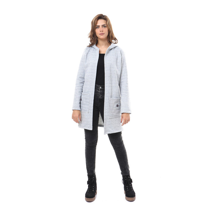 Hooded Neck Open Cardigan - Grey