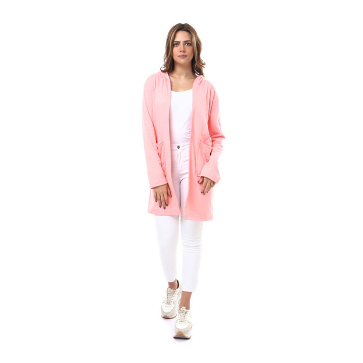 Hooded Neck Open Cardigan - Pink