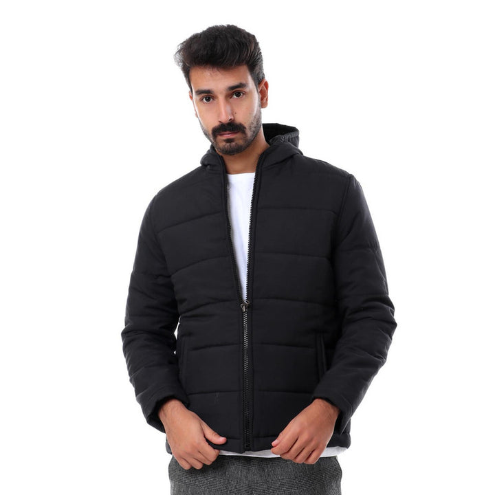 Hooded Zipper Closure Full Sleeves Jacket - Black