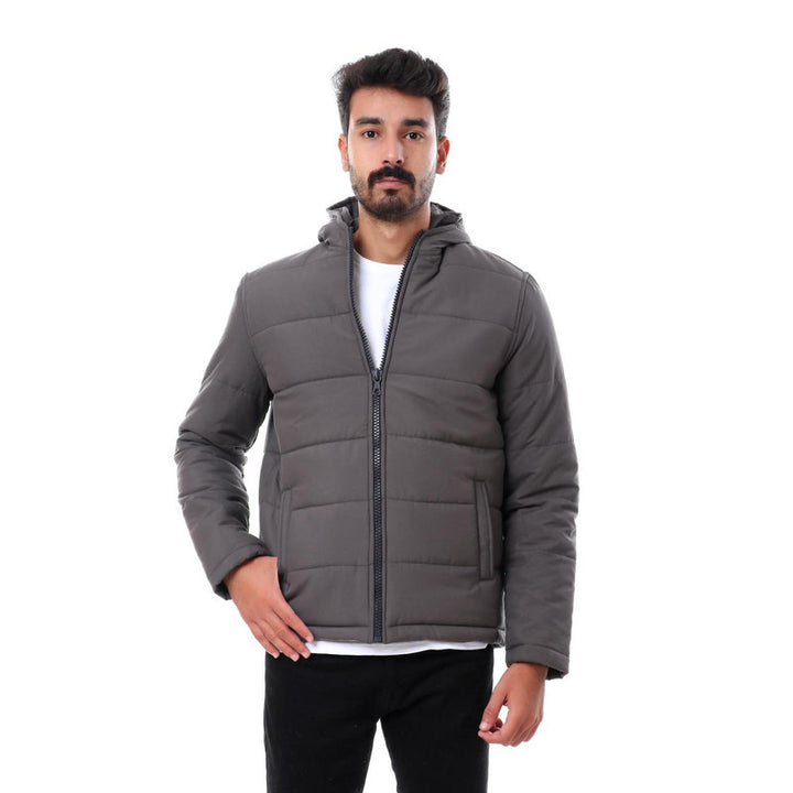 Hooded Zipper Closure Full Sleeves Jacket - Grey