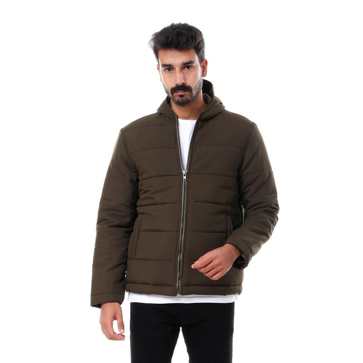 Hooded Zipper Closure Full Sleeves Jacket - Olive