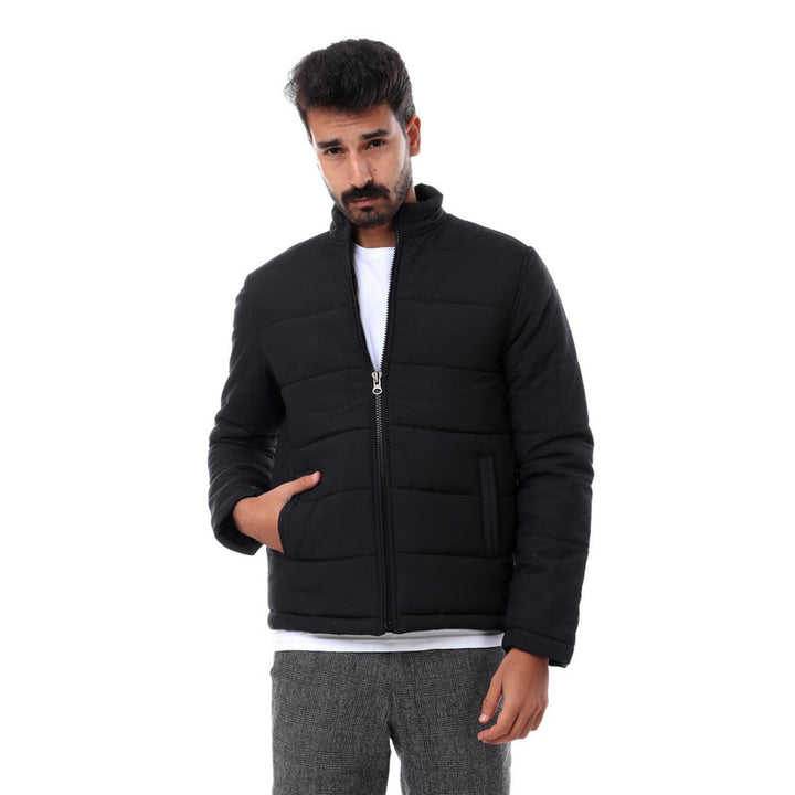 Quilted Zipper Comfy Black Jacket