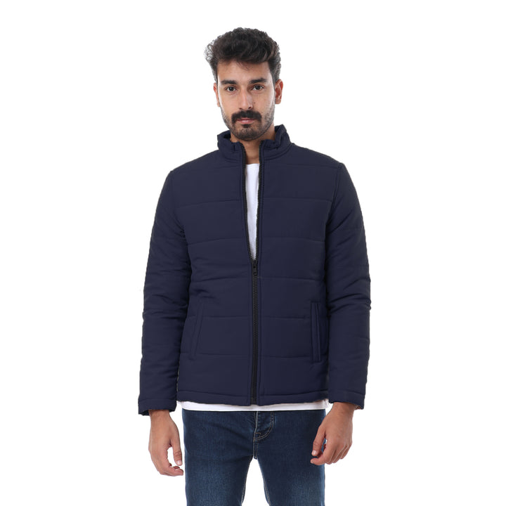 Quilted Zipper Comfy Navy Blue Jacket