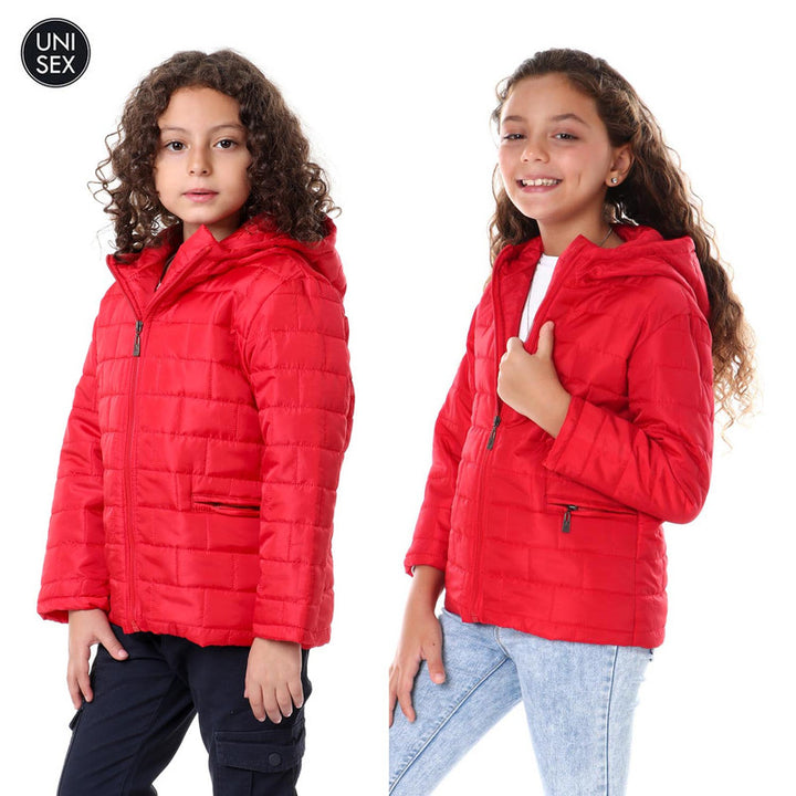 Kids Casual Hooded Zipper Red Jacket