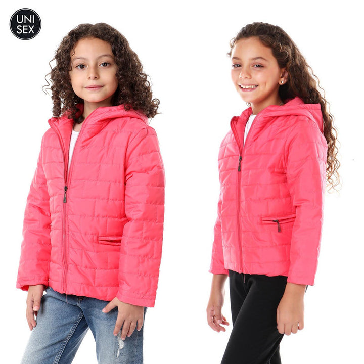 Kids Stitched Waterproof Hooded Jacket - Watermelon