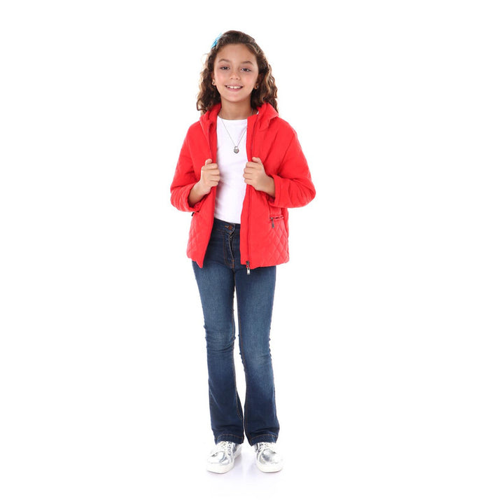 Zipper Hooded Girls Jacket - Red