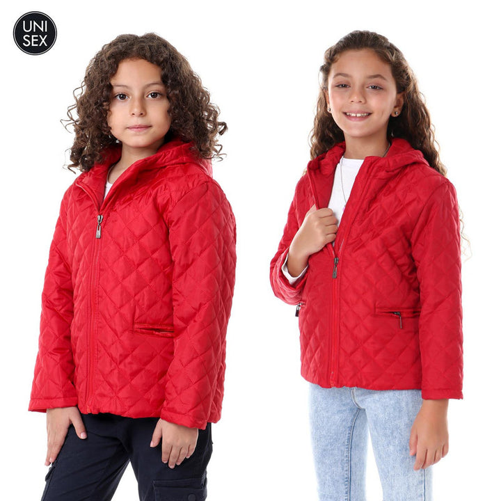 Kids Stitched Waterproof Hooded Jacket - Dark Red