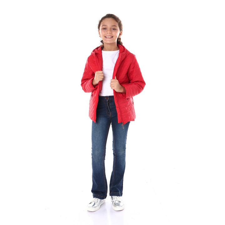 Kids Stitched Waterproof Hooded Jacket - Red