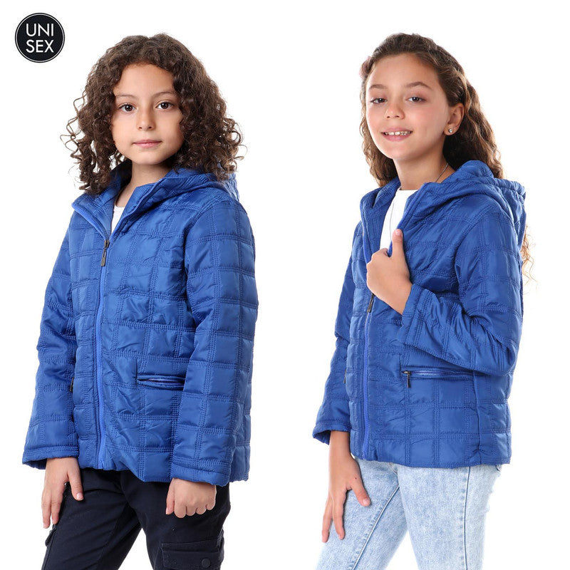 Kids Squared Stitched Waterproof Jacket - Blue