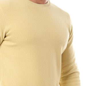 Self Striped Plain Sweatshirt - Light Mustard