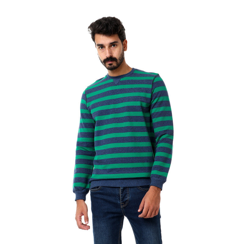 Striped_Cotton_Round_Collar_Sweatshirt_-_Blue_&_Green