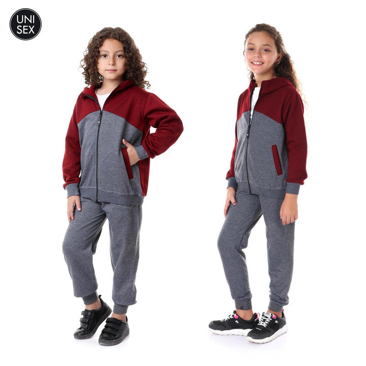 Kids Hooded Zipped Training Suit - Grey & Burgundy