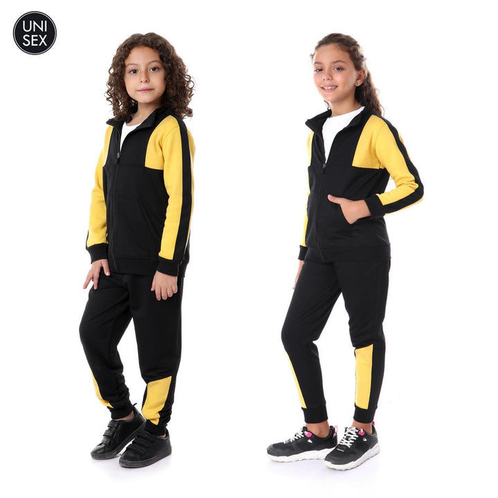 Kids Bi-Tone Zipper Casual Training Suit - Mustard & Black