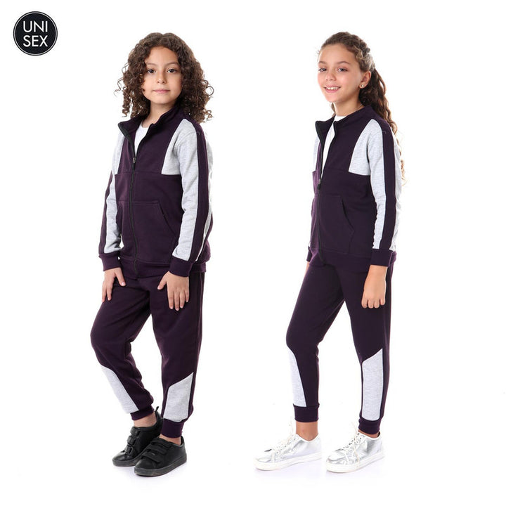 Kids Bi-Tone Zipper Casual Training Suit - Dark Purple & Grey
