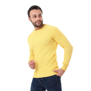 Self Patterned Pullover - Yellow