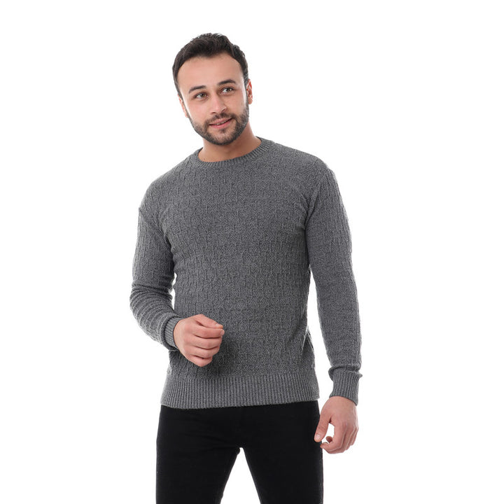 Self Patterned Pullover - Heather Dark Grey