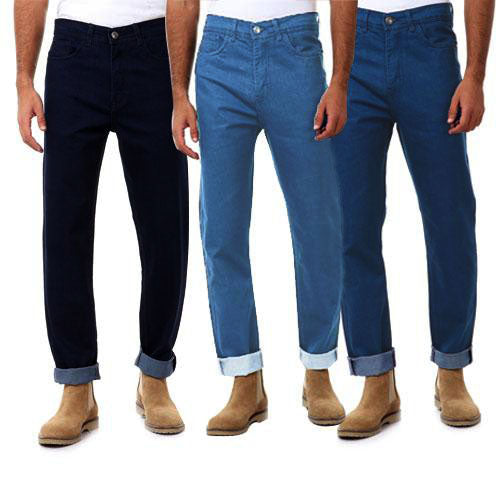 Bundle Of 3  Regular Fit Plain Denim Pants - Blue & Navy Blue & Light Blue