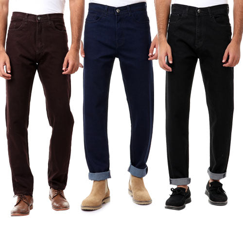 Bundle Of 3  Regular Fit Plain Denim Pants - Dark Brown & Navy Blue & Black