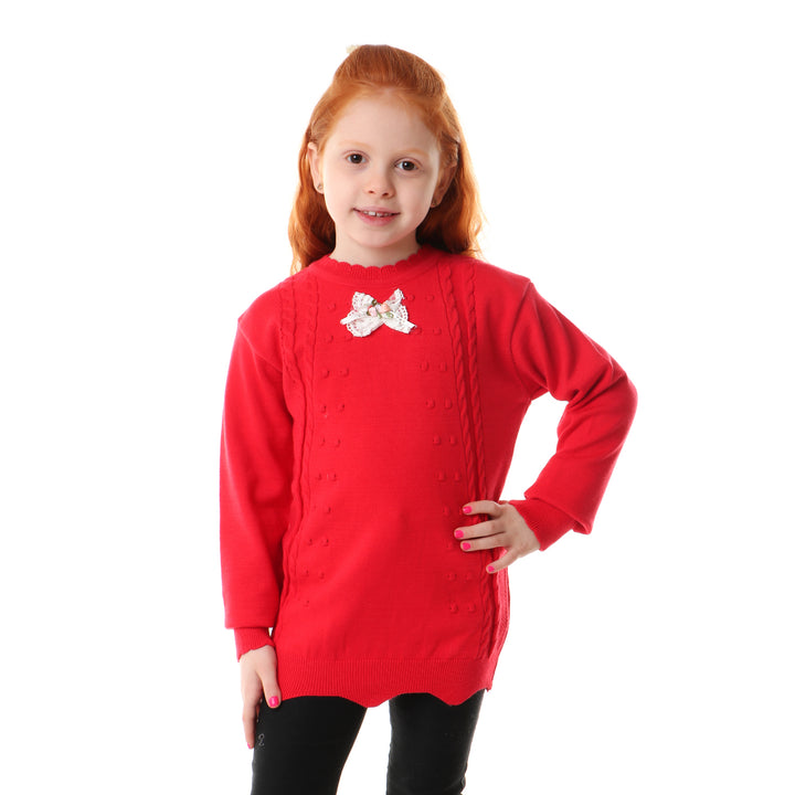 Girls Scalloped Neck Knitted Pullover - Red