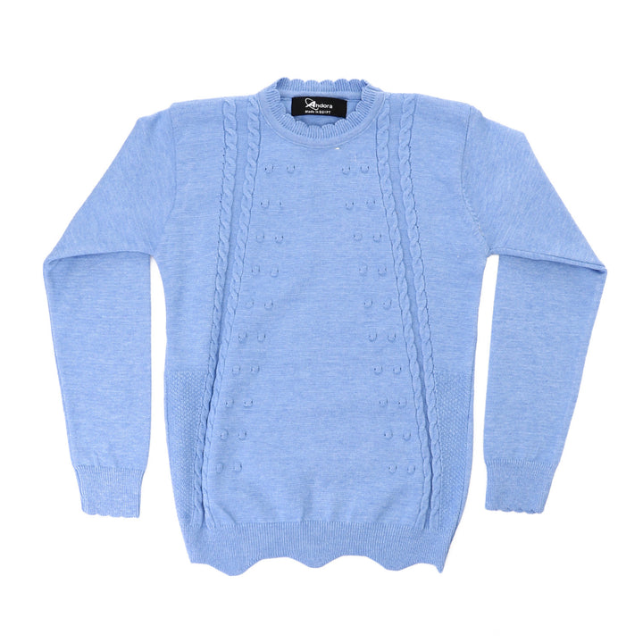 Girls Scalloped Neck Knitted Pullover - Baby Blue