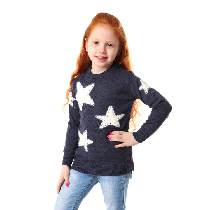Stars Decorative Acrylic Pullover - Navy Blue