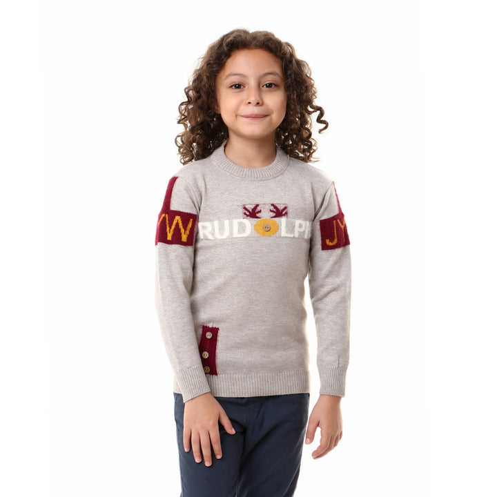 Decorative Buttoned Boys Comfy Pullover - Grey