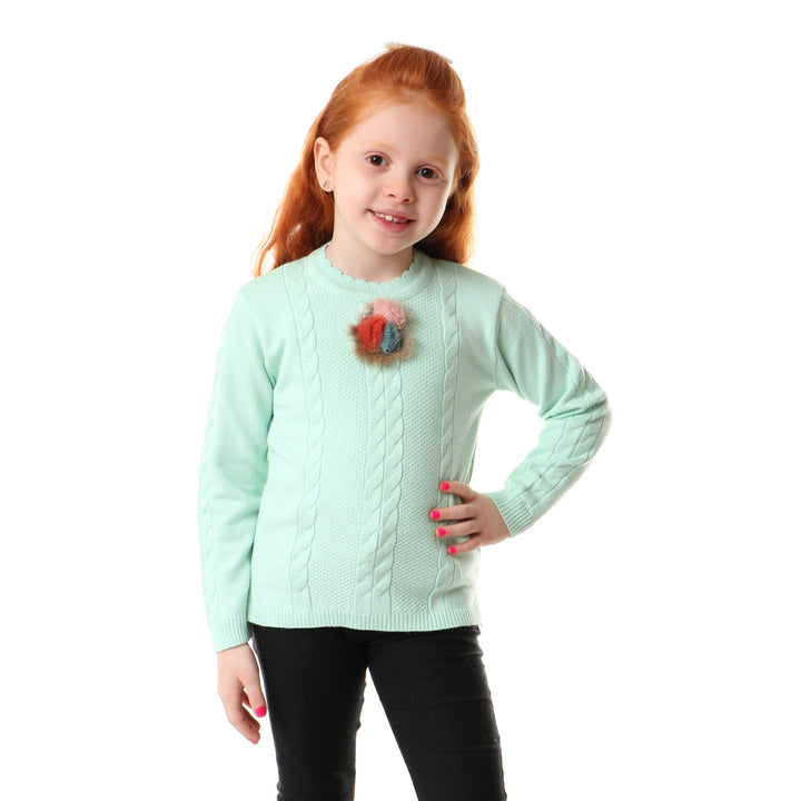 Front Braided With Scalloped Neck Pullover - Mint Green (Accessories Shape May Be Vary)