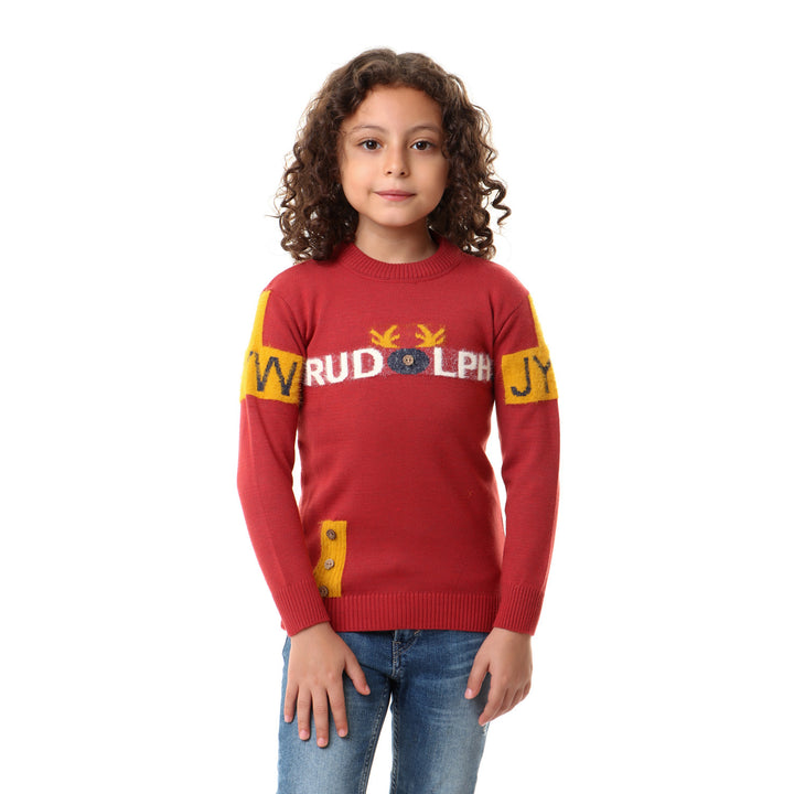 Decorative Buttoned Boys Comfy Pullover - Idian Red