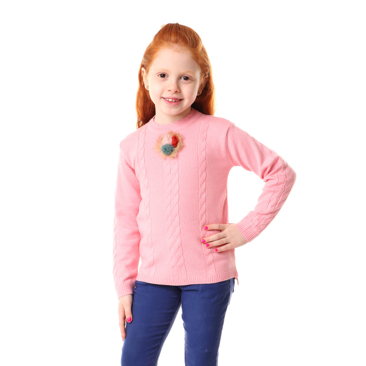 Front Braided With Scalloped Neck Pullover - Pink (Accessories Shape May Be Vary)