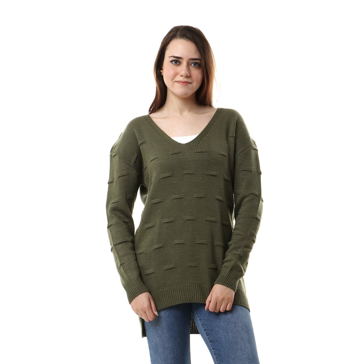 Deep V-neck Long Sleeves Pullover - Olive