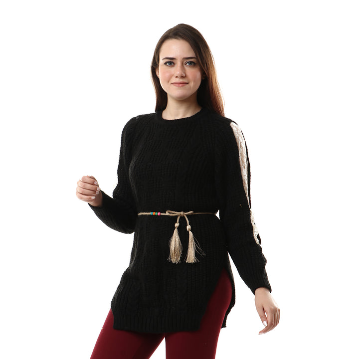 Lace Sleeves With Side Slits Pullover - Black