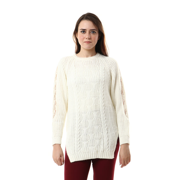 Lace Sleeves With Side Slits Pullover - Off-White