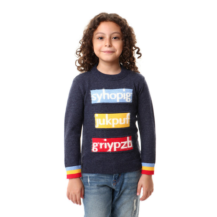 Slip On Knitted Boys Pullover - Navy Blue