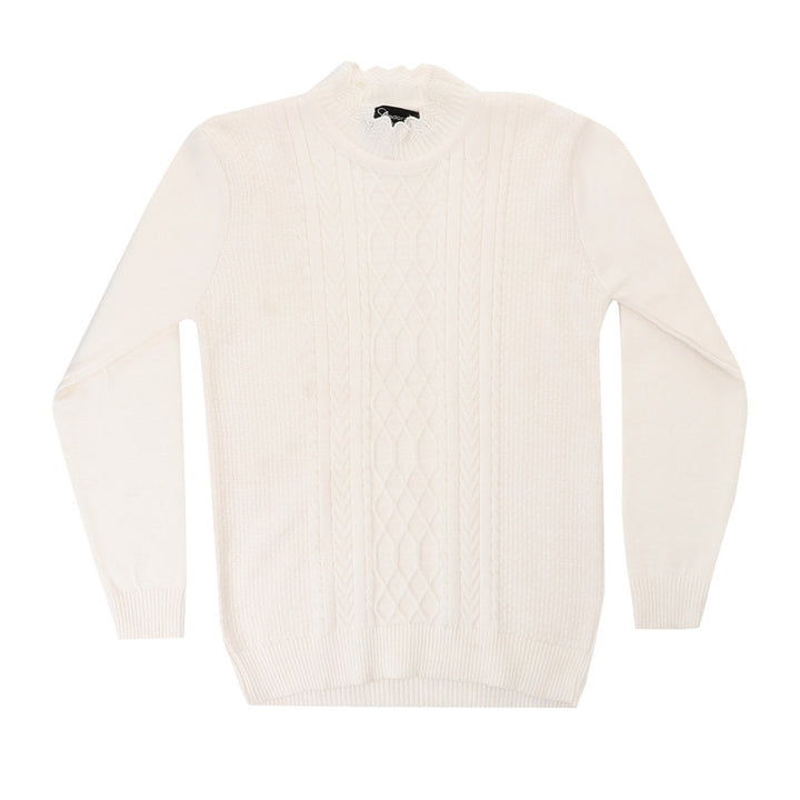 Front Knitted Long Sleeves Pullover - Off White