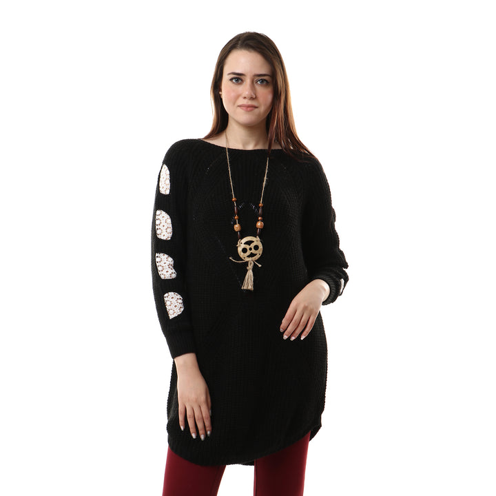 Perforated Lace Sleeves Knitted Pullover - Black