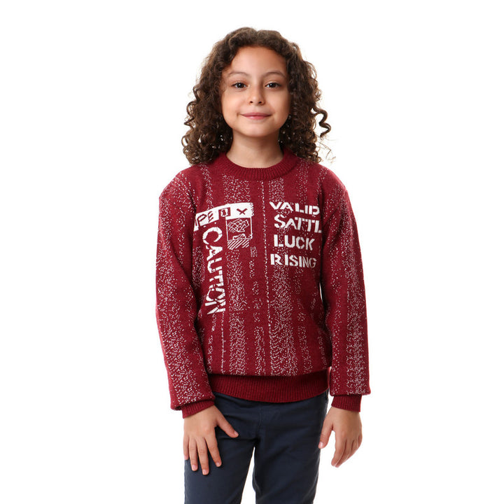 Ribbed Round Neck Boys Burgundy Pullover