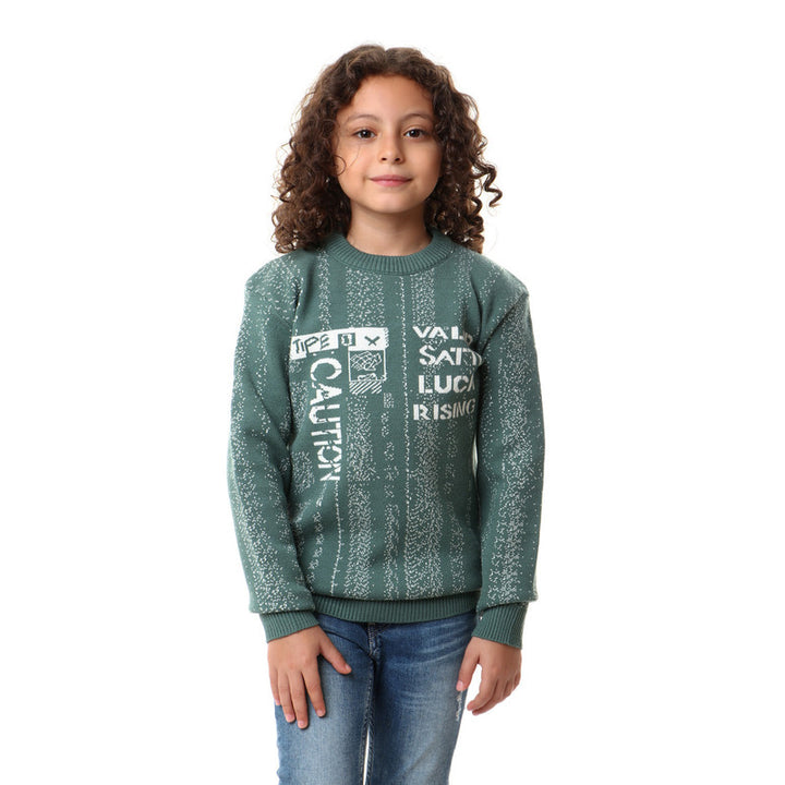 Ribbed Round Neck Boys Green Pullover