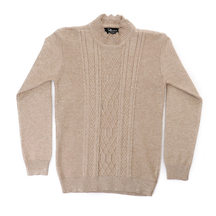 Front Knitted Long Sleeves Pullover - Beige