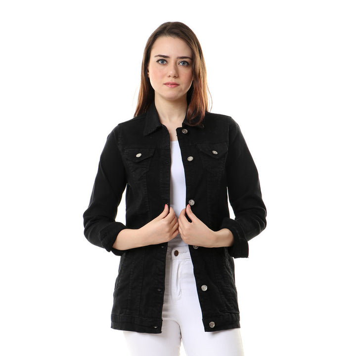 Fashionable Buttoned Denim Jacket - Black