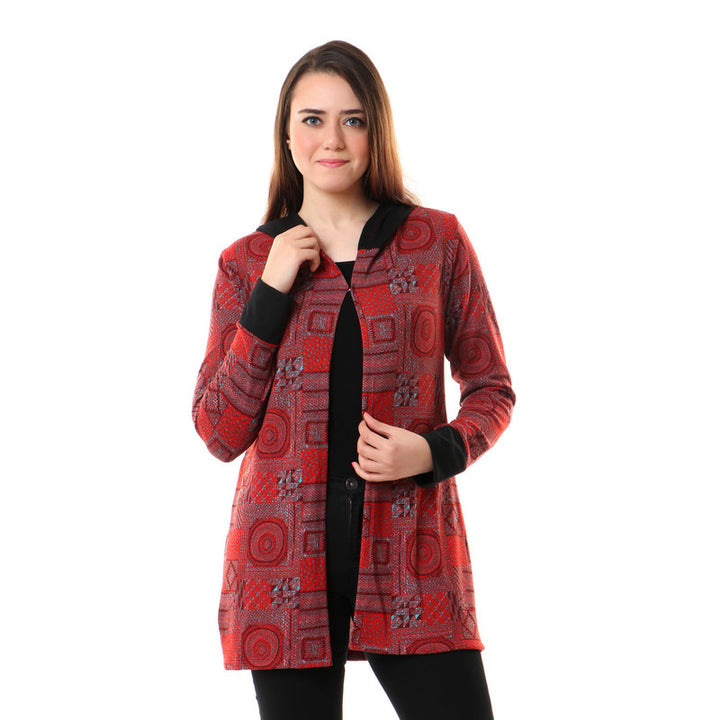 Patterned Hooded Hook Closure Cardigan - Red