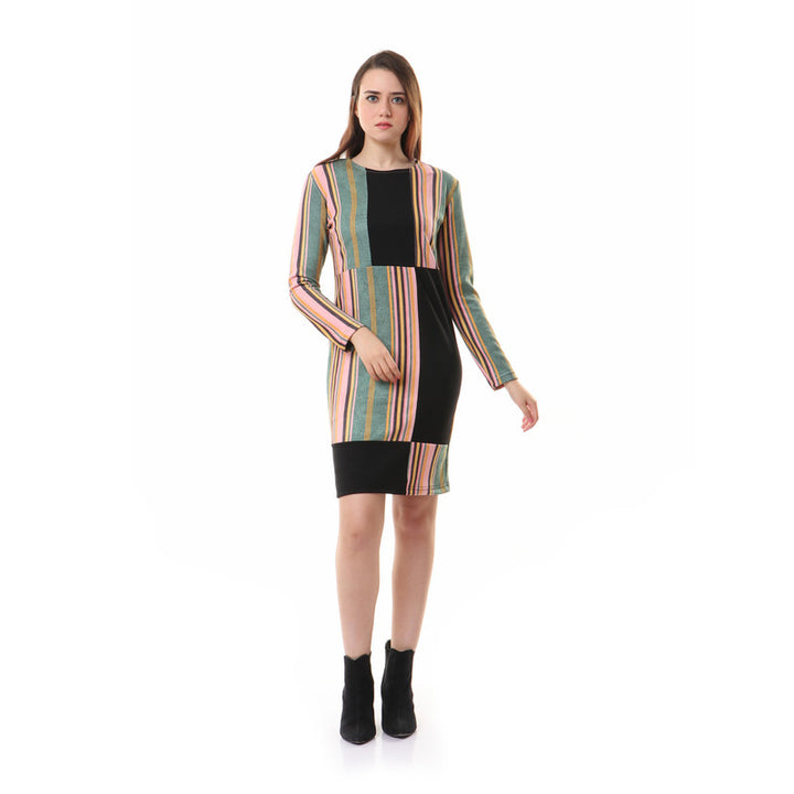 Rounded Striped Long Sleeves Dress - Green & Pink