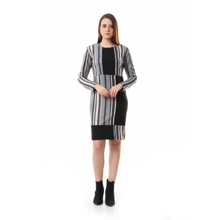 Rounded Striped Long Sleeves Dress - Black & Grey