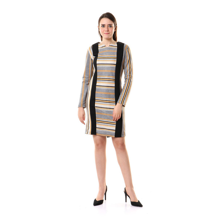 Striped Full Sleeves Zipped Dress - Grey