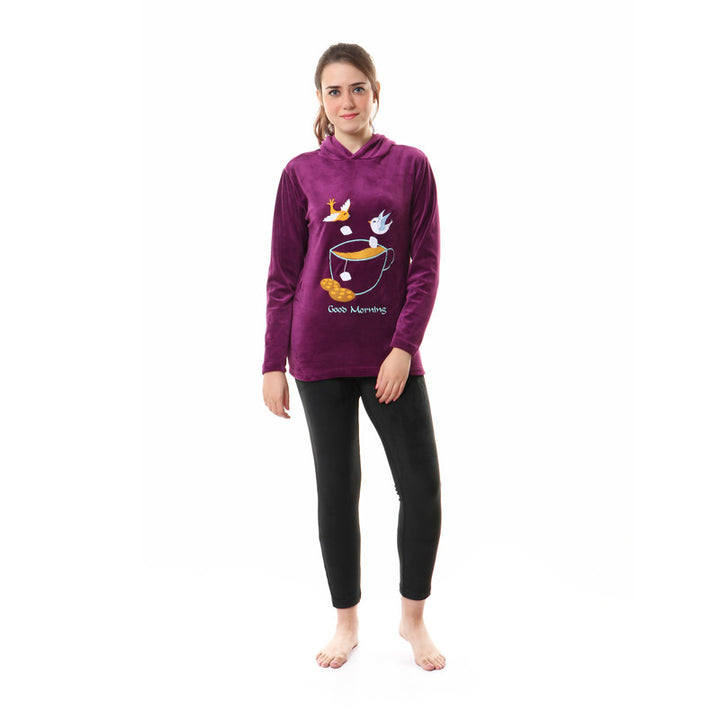 Stitched Hooded Thermal Pajama Set - Purple & Black