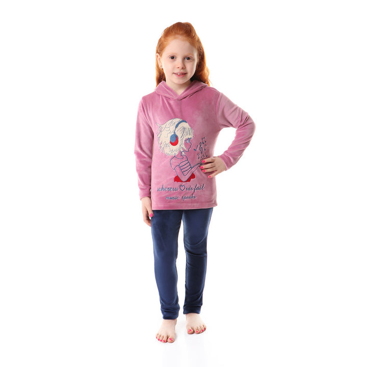 Girls Soft Fleeces Stitched Pajama Set - Dark Cashmir & Navy Blue