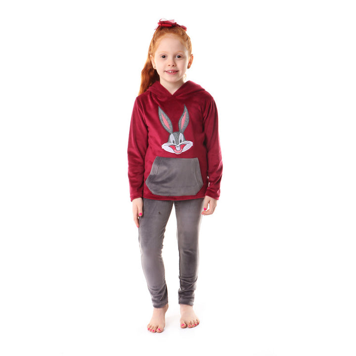 Girls Stitched Bugs Bunni Pajama Set - Magenta & Grey