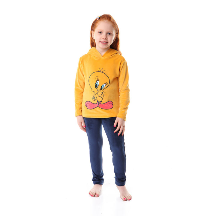 Girls Tweety Stitched Pajama Set - Mustard & Navy Blue