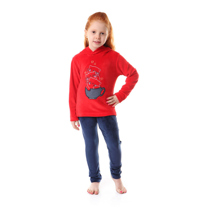 "Girls Soft Fleeces Stitched Pajama Set Printed  ""Cat ""  _ Red  & Navy Blue"